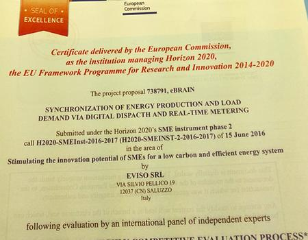Il certificato Seal Of Excellence conferito dalla Commissione Europea ad eVISO per Horizon 2020